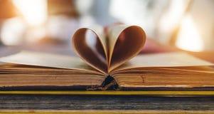 Un vieux livre ouvert avec des feuilles sous forme de coeur Image stock