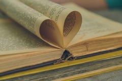 Un vieux livre ouvert avec des feuilles sous forme de coeur Photos libres de droits