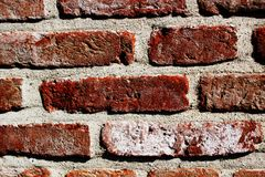 Un vieux mur de briques rouge avec la vieille maçonnerie Vieille brique rouge 2 Images stock