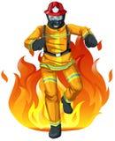 Un vigile del fuoco ed il grande fuoco Immagine Stock Libera da Diritti