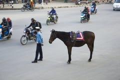 Un vigile urbano sta stando su una strada asfaltata con il suo cavallo marrone contro lo sfondo della a fotografia stock libera da diritti