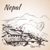 Un village de montagne dans le Népal - le circuit d'Annapurna Image libre de droits