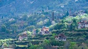 Un village minuscule dans Danba, Sichuan Images libres de droits