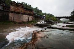 Un villaggio fluviale Immagine Stock Libera da Diritti