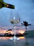 Un vin au coucher du soleil images libres de droits