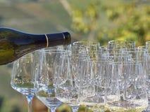 Un vino di versamento della bottiglia in alcuni vetri con il paese di Langhe fotografie stock