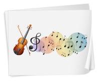 Un violen ha stampato su una carta con le note musicali illustrazione vettoriale