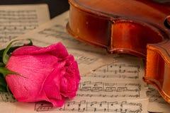 Un violon, une rose de rouge et une musique de feuille Photos libres de droits
