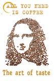 Un visage d'une jeune femme a arrangé des grains de café Photo stock
