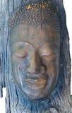 Un visage sculpted de l'écorce d'arbre image stock