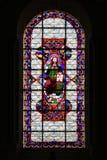 Un vitral que representa a Cristo adorna una capilla en la iglesia de la abadía de Fontevraud (Francia) Fotos de archivo
