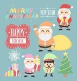 Un vntage dei tre Babbo Natale con l'insieme di elementi dell'elfo Immagine Stock Libera da Diritti