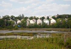 Un voisinage et un étang Photo stock
