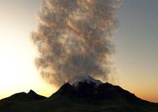 Un volcán que entra en erupción Fotos de archivo