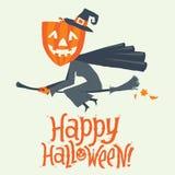 Un volo della strega su un manico di scopa Invito felice della cartolina, del manifesto, del fondo o del partito di Halloween Ill Fotografia Stock