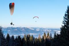 Un volo di due alianti nell'inverno sopra gli alberi con panorama piacevole Fotografia Stock Libera da Diritti