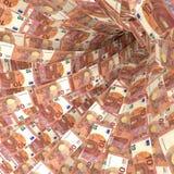 Un vortice dei soldi di 10 euro fatture Immagine Stock