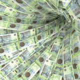 Un vortice dei soldi di 200 fatture delle corone scandinave danesi Fotografia Stock Libera da Diritti