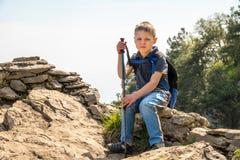 Un voyageur de garçon avec des poteaux de trekking et un sac à dos se repose sur une montagne parmi la forêt verte image libre de droits