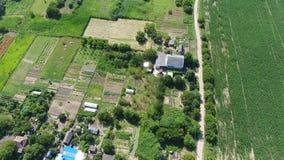 Un vuelo de una opinión del s-ojo del ` del pájaro sobre el pueblo ruso en el Kuban Campo, casas y jardines almacen de video