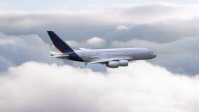 Un vuelo del aeroplano a través de las nubes ilustración del vector