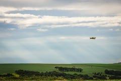 Un vuelo del plumero de la cosecha en un campo de la caña de azúcar imagenes de archivo