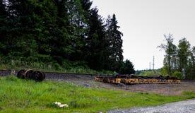 Un wagon de chemin de fer déraillé retourné se trouvant à côté des voies photos stock