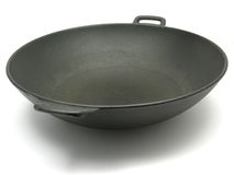 Un wok negro grande Fotografía de archivo libre de regalías