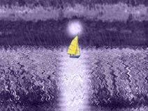Un yacht de navigation flottant dans la perspective d'une augmentation complètement illustration de vecteur