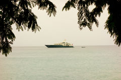 Un yacht di lusso in Isole Sopravento meridionali Immagine Stock