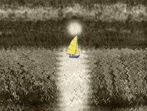 Un yate de la navegación que flota contra el sol poniente ilustración del vector