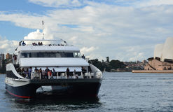 Un yate en Sydney Harbour Puerto Jackson de la bahía sydney australia Imagen de archivo