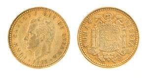 Una or 1 peseta - former Spanish money Royalty Free Stock Photo