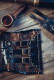 Una aún-vida hermosa en el estilo del steampunk con protector va Foto de archivo libre de regalías