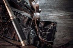 Una aún-vida hermosa en el estilo del steampunk con protector va Fotos de archivo libres de regalías