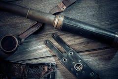 Una aún-vida hermosa en el estilo del steampunk con protector va Imágenes de archivo libres de regalías