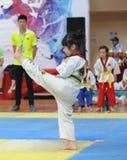 Una acción agradable de una pequeña muchacha del Taekwondo Imagen de archivo libre de regalías
