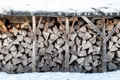 Una acción de firewoods en el invierno Fotografía de archivo