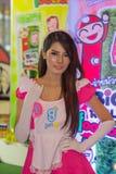 Una actitud no identificada del presentador en el festival GRANDE 2013 de la demostración de juego de Tailandia imagen de archivo libre de regalías