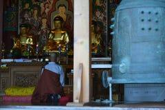 Una adoración practicante del monje Coreano-budista en un sitio La imagen era t Imagenes de archivo