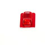 Una alarma de incendio con construido en la luz del estroboscópico, alerta en caso del fuego fotografía de archivo