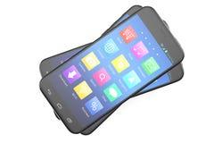 Una anchura de plata del teléfono una pantalla azul e iconos, aislados en el fondo blanco, ejemplo 3d libre illustration