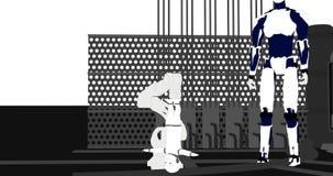 Una animación de un robot en una fábrica en un estilo cartoonish ilustración del vector