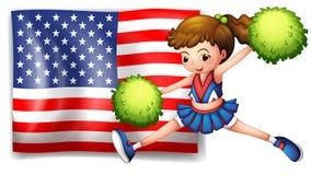 Una animadora y la bandera de los E.E.U.U. Imagen de archivo libre de regalías