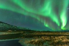 Una aurora verde hermosa Imagen de archivo
