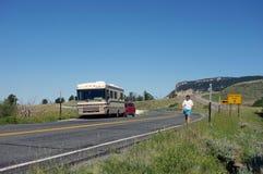 Una autocaravana parqueada para la fotografía Imagenes de archivo