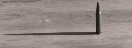 Una bala 223 en una tabla en blanco y negro Foto de archivo libre de regalías