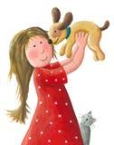 Una bambina sta sostenendo il suo nuovo cucciolo marrone illustrazione vettoriale