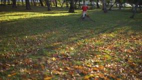 Una bambina in un vestito rosso funziona sulle foglie gialle video d archivio