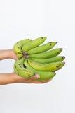 Una banana in mano della donna isolata su un fondo bianco Fotografia Stock